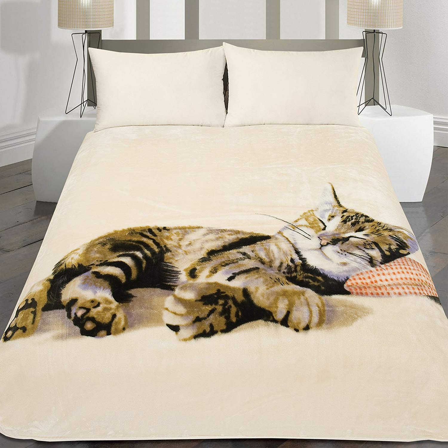 Luxury Sleeping Kitten Throw