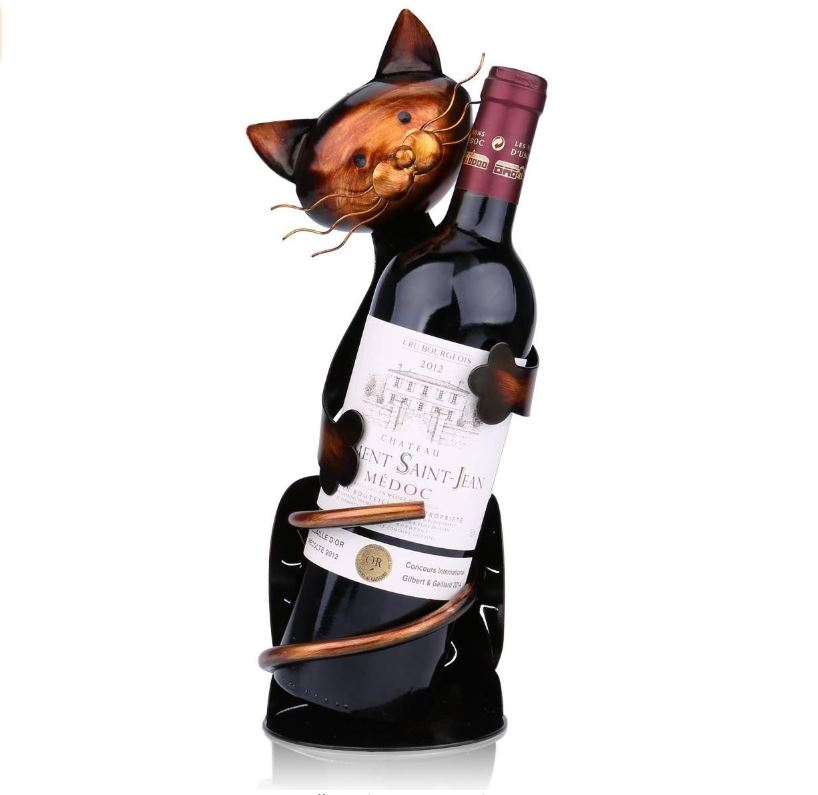 Handcraft metal sculpted cat wine holder
